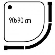 Карниз для поддона дугообразный 90 на 90 см. хром