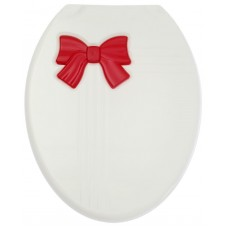 Сиденье для унитаза Zalel Бантик бело-красное (жесткое)