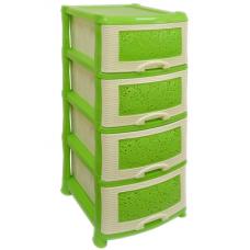 Комод пластиковый 4-х секционный Ажур крем-салатовый