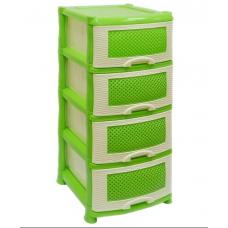 Комод пластиковый 4-х секционный Плетенка зеленый