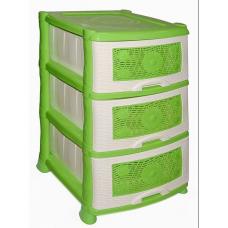 Комод пластиковый 3-х секционный Ромашка зеленый