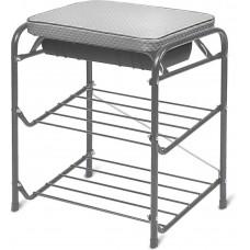Банкетка для обуви с мягким сиденьем и ящиком (арт. БП1/С) серебро