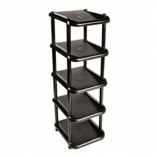 Этажерка для обуви узкая 5 полок черная