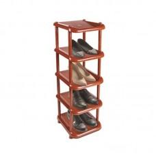 Этажерка для обуви узкая 5 полок коричневая