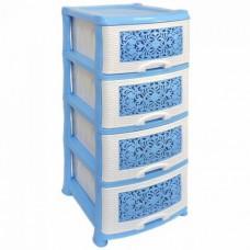 Комод пластиковый 4-х секционный Орнамент бело-голубой