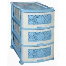 Комод пластиковый 3-х секционный Ромашка голубой