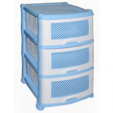 Комод пластиковый 3-х секционный Плетенка голубой