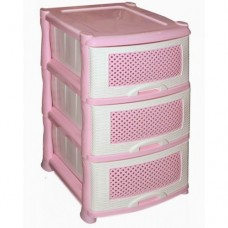 Комод пластиковый 3-х секционный Плетенка розовый