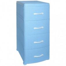 Комод пластиковый 4-х секционный РОТАНГ голубой