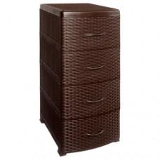 Комод плетенный 4-х секционный Ротанг (коричневый)