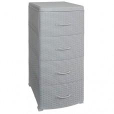 Комод пластиковый 4-х секционный РОТАНГ серый