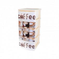 Комод 4-х секционный с декором Кофе