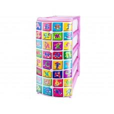 """Комод пластиковый №3 с рисунком """"Алфавит"""" розовый"""