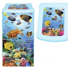 Комод пластиковый 4-х секционный с декором Океан