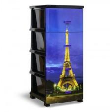 Комод пластиковый 4-х секционный с декором Париж